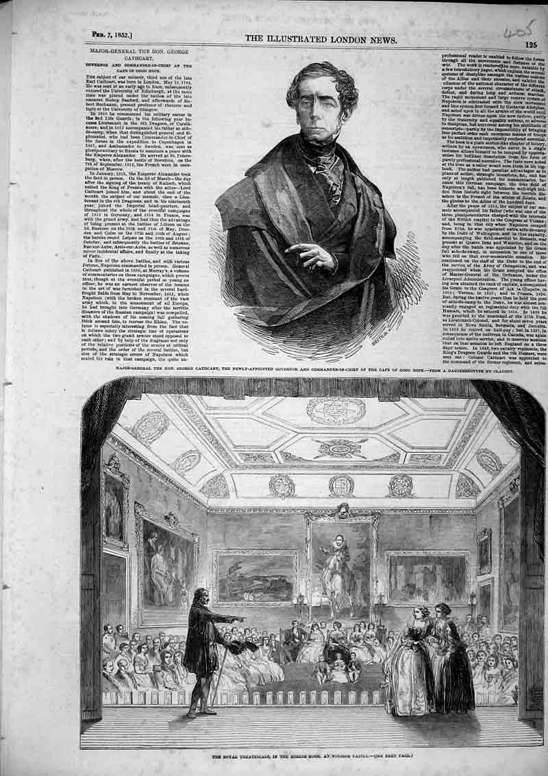 Print 1852 Theatricals Royal Rubens Room Windsor Castle Cape 405B366 Old Original