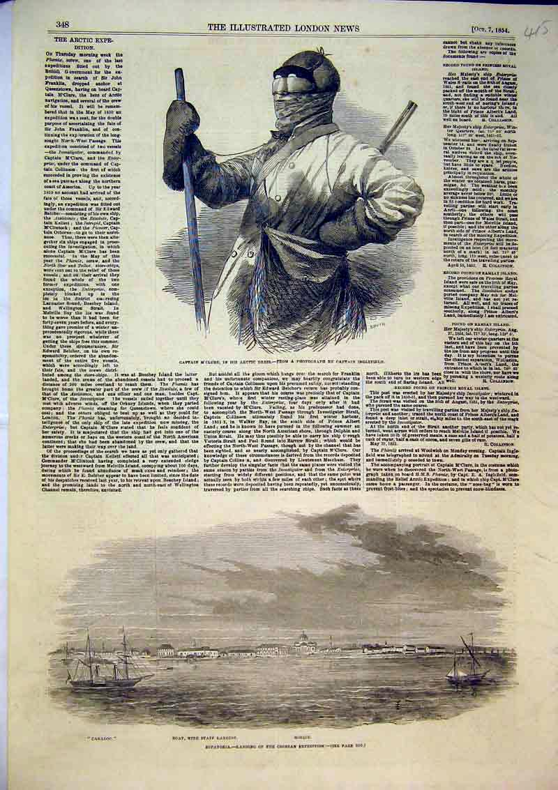 Print 1854 Eupatoria Caradoc Mosque Boat Captain M'Clure 415B366 Old Original