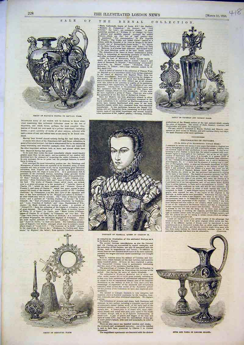Print Ewer Tazza Limoges 1855 German Glass Isabella Queen 418B366 Old Original