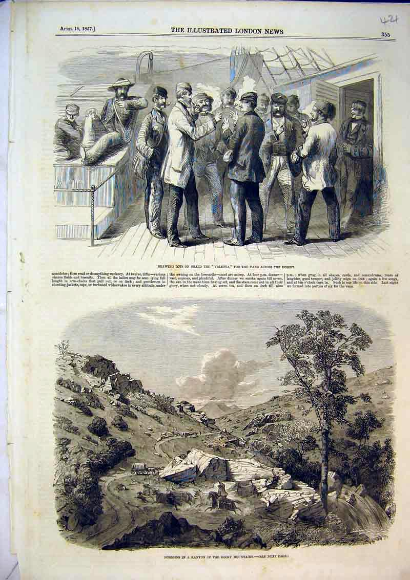 Print 1857 Mormons Kanyon Rocky Mountains Men Valetta Ship 421B366 Old Original
