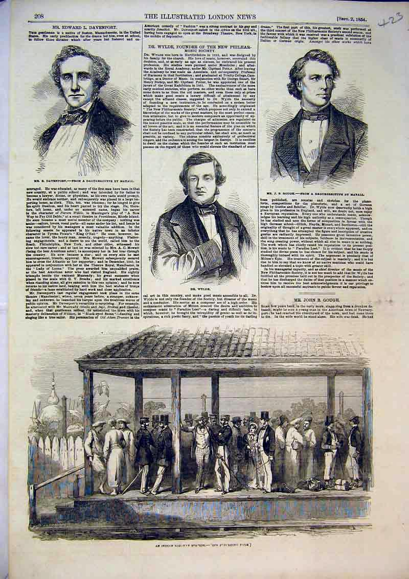Print 1854 Indian Railway Station Wylde Gough Davenport Men 423B366 Old Original