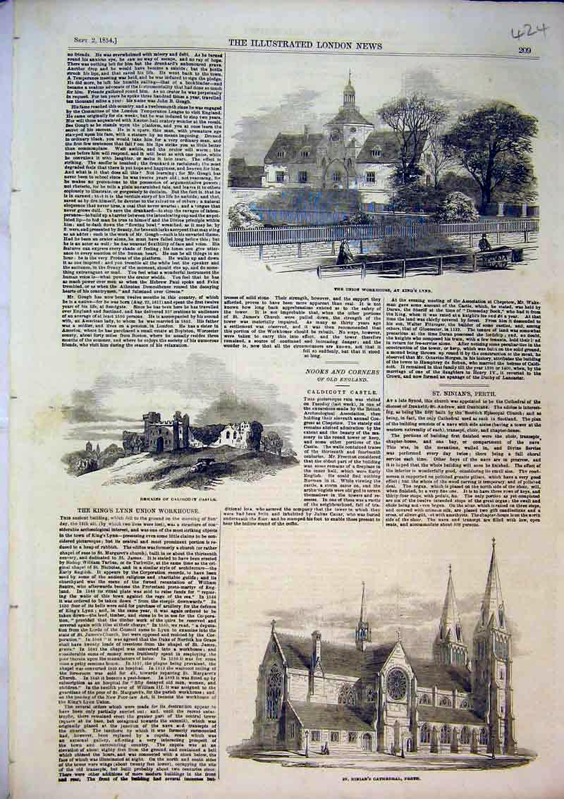 Print 1854 Ninians Cathedral Perth Castle Union Workhouse 424B366 Old Original