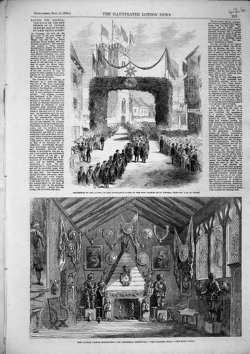 Print 1854 Lyceum Industrial Exhibition Procession Isle Wight 426B366 Old Original