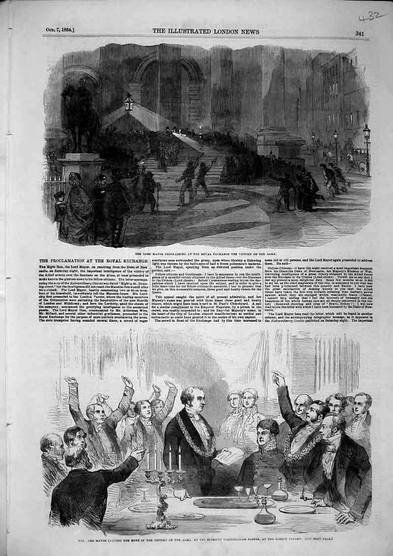 Print 1854 Lord Mayor Victory Alma Dinner London Tavern War 432B366 Old Original