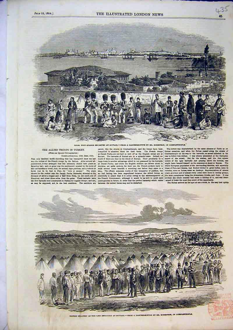 Print British Infantry Scutari Camp 1854 Foot Guards Turkey 435B366 Old Original