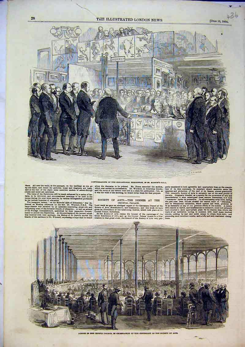 Print 1854 Dinner Crystal Palace Educational Martin'S Hall 436B366 Old Original