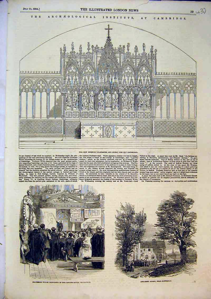 Print 1854 Reredos Ely Cathedral Professor Willis Anglesy 437B366 Old Original