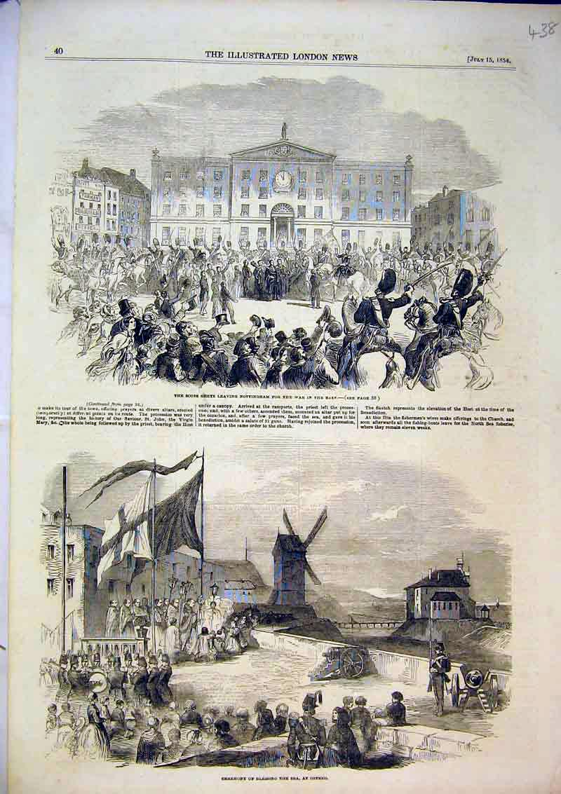 Print 1854 Scots Grey Soldiers Ceremony Blessing Sea Ostend 438B366 Old Original