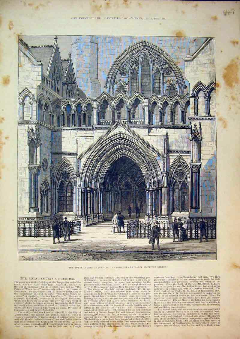 Print Royal Court Justice Principal Entrance Strand 1882 447B366 Old Original