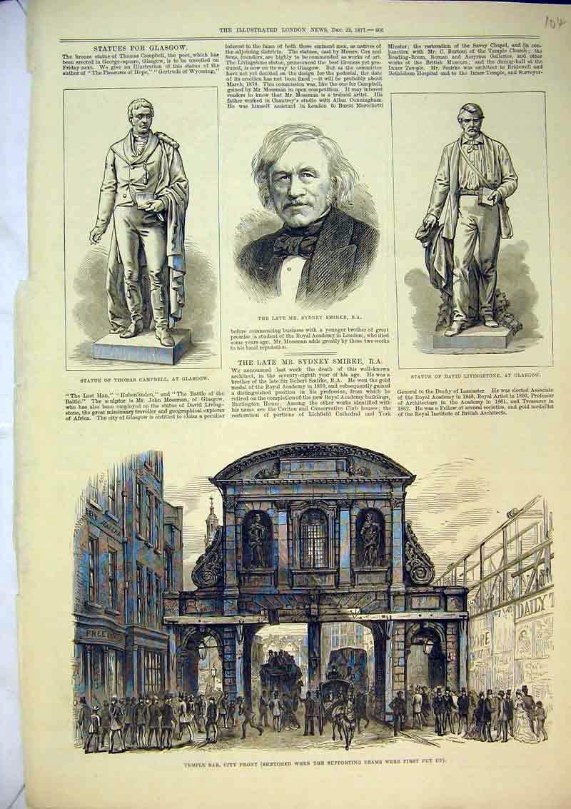 Print 1877 Temple Bar City Front Statue Campbell Livingstone 104B367 Old Original