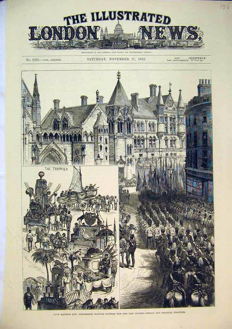 Print Lord Mayor'S Day 1883 Indian Colonial Trophies Law 105B367 Old Original