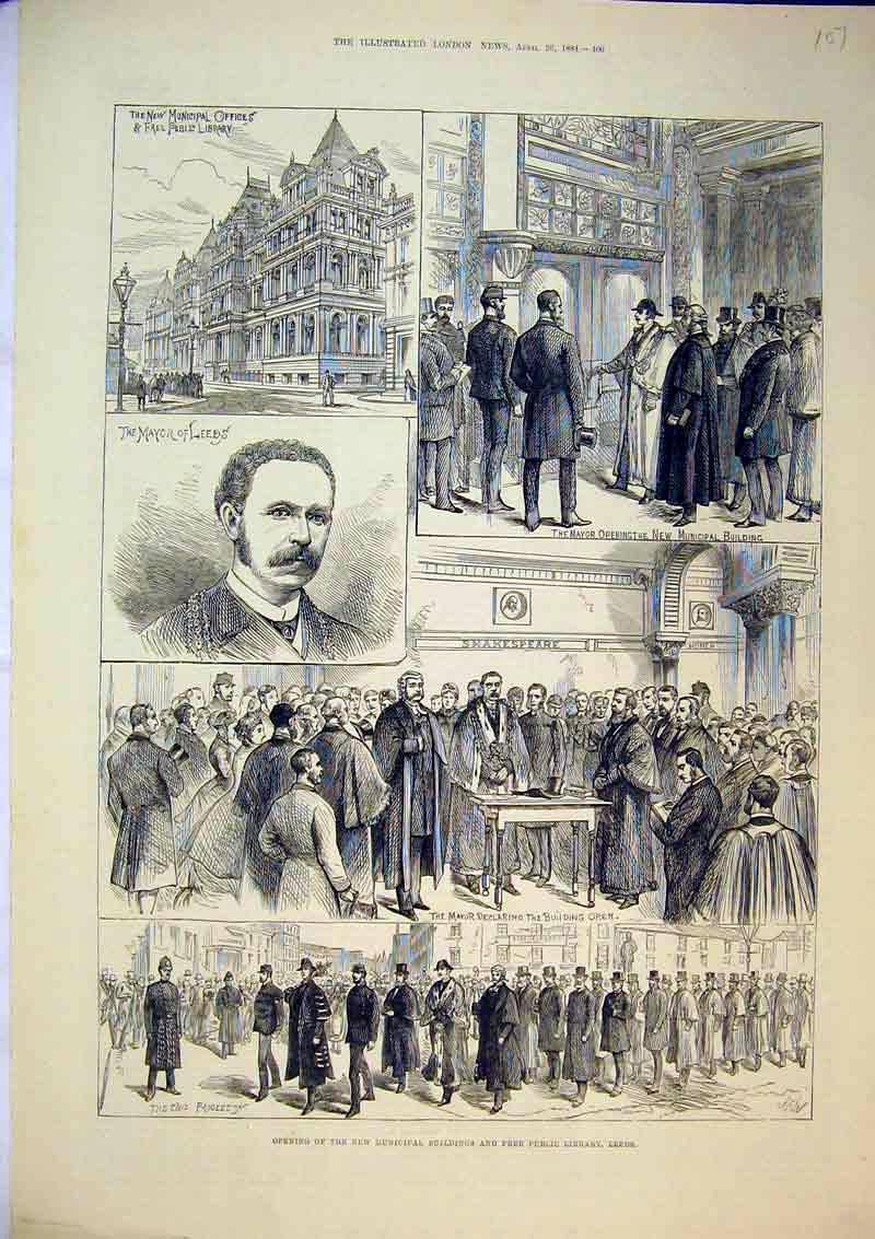 Print 1884 Mayor Municipal Buildings Public Library Leeds 107B367 Old Original