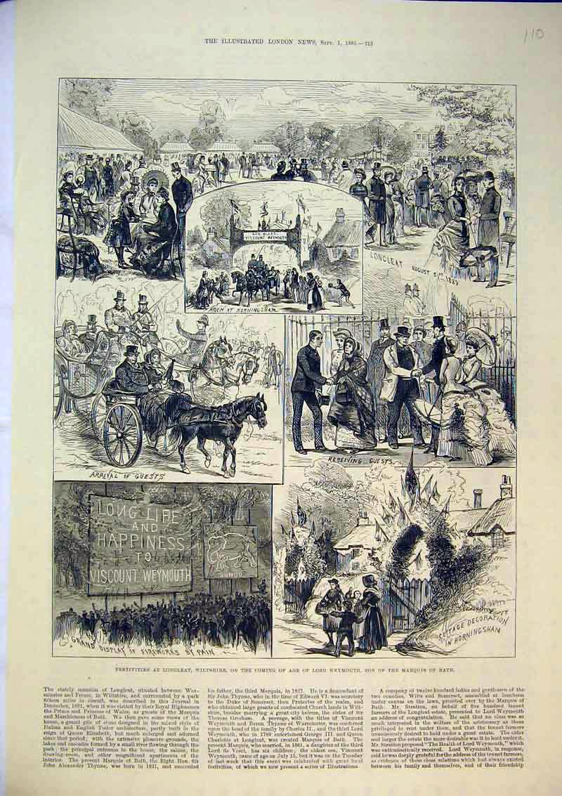 Print Festivities Longleat 1883 Lord Weymouth Marquis Bath 110B367 Old Original