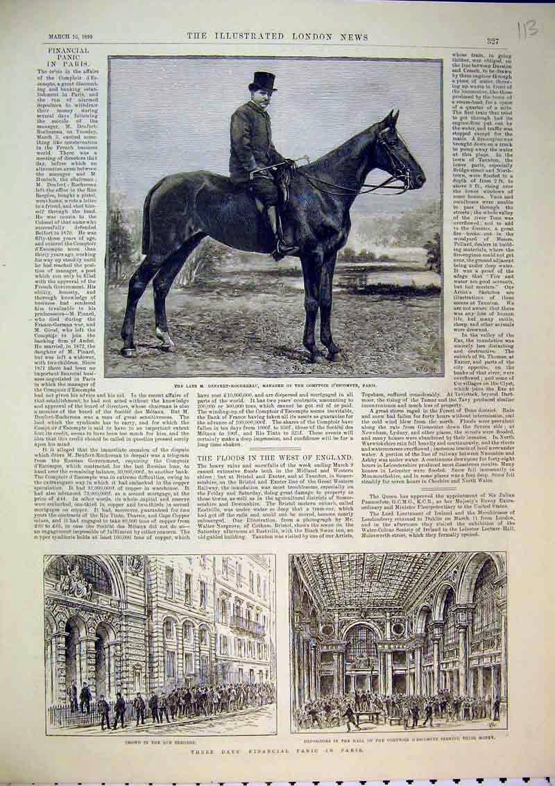 Print Financial Paris 1889 Rue Bergere Horse D'Escompte Hall 113B367 Old Original