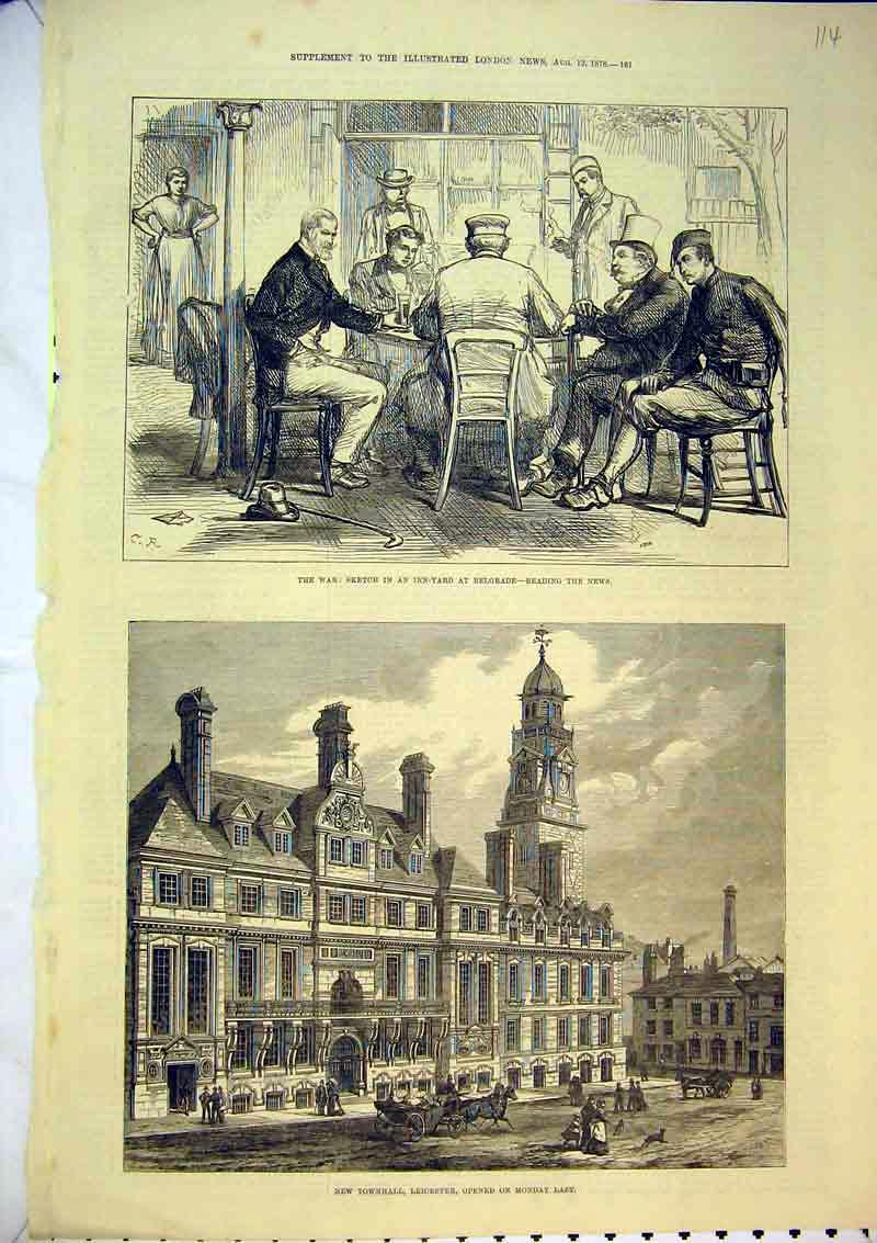 Print 1876 Townhall Leicester War Inn-Yard Belgrade Men News 114B367 Old Original
