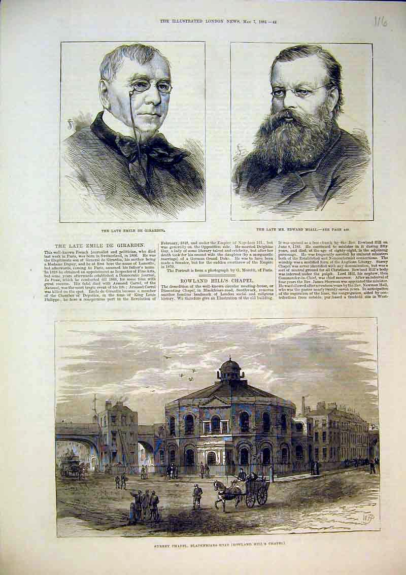 Print 1881 Surrey Chapel Blackfriars Girardin Edward Miall 116B367 Old Original