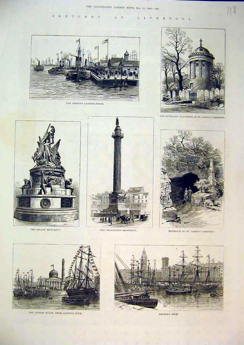 Print 1886 Liverpool Custom House Nelson Wellington Huskisson 118B367 Old Original