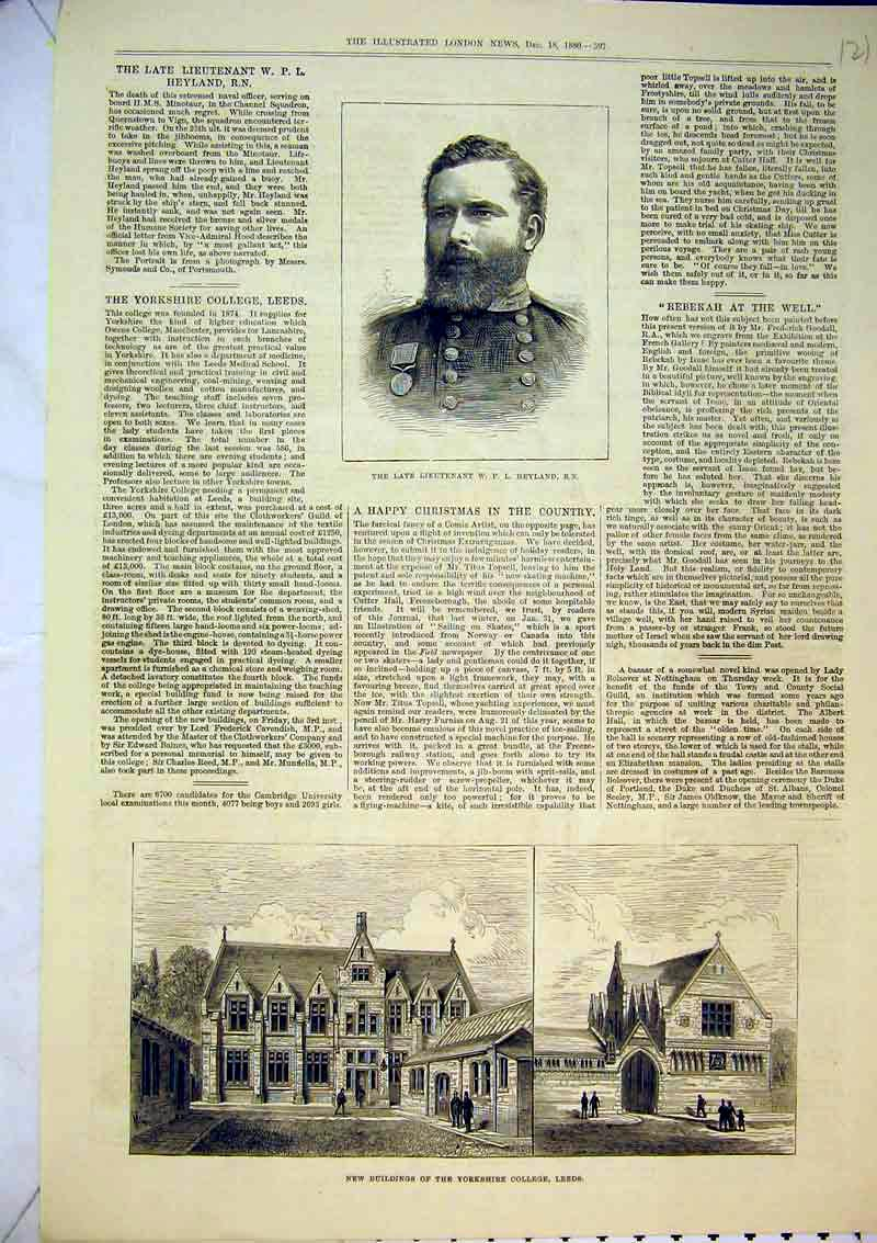 Print 1880 Buildings Yorkshire College Leeds Heyland Army Man 121B367 Old Original