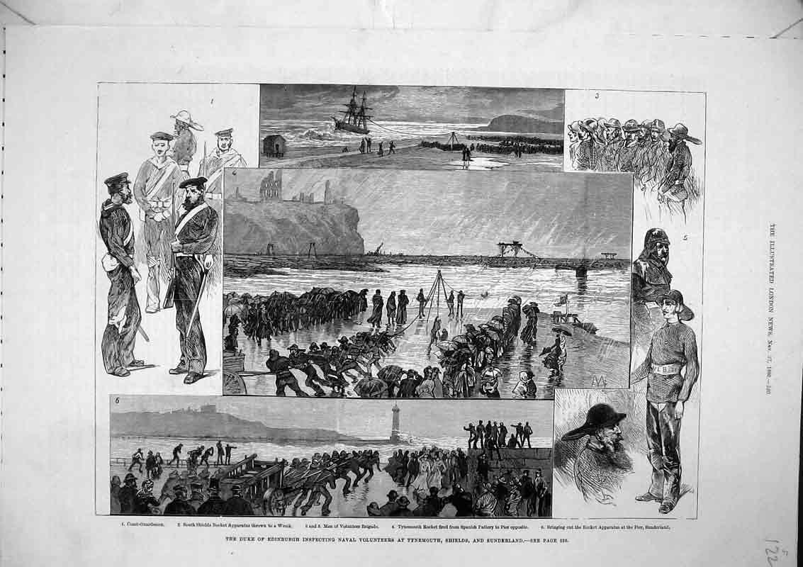 Print *0128 1880 Duke Edinburgh Naval Volunteers Tynemouth Shields 122B367 Old Original