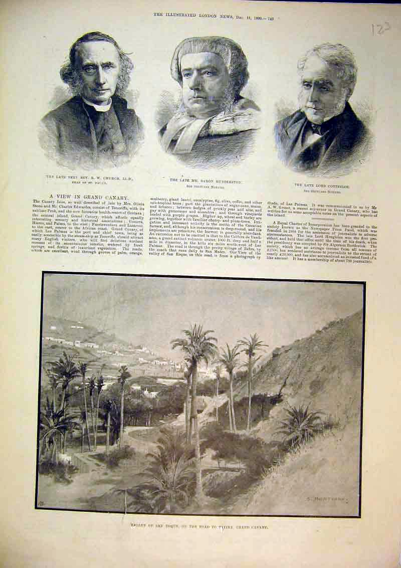 Print Valley Roque Tafira Grand Canary 1890 Church Cottesloe 123B367 Old Original