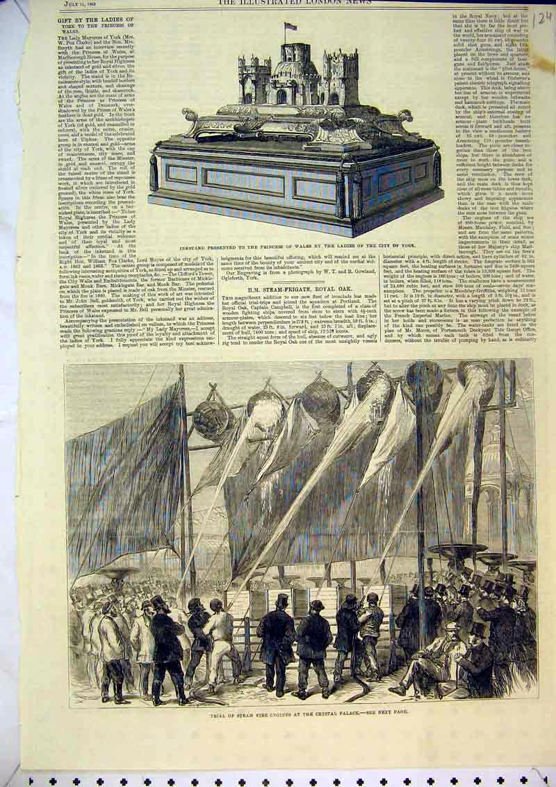 Print Steam Fire Engines Crystal Palace 1863 Inkstand York 124B367 Old Original