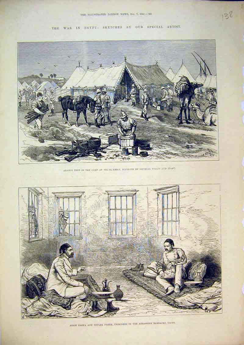 Print War Egypt 1882 Pasha Prisoner Cairo Tent Camp Willis 138B367 Old Original