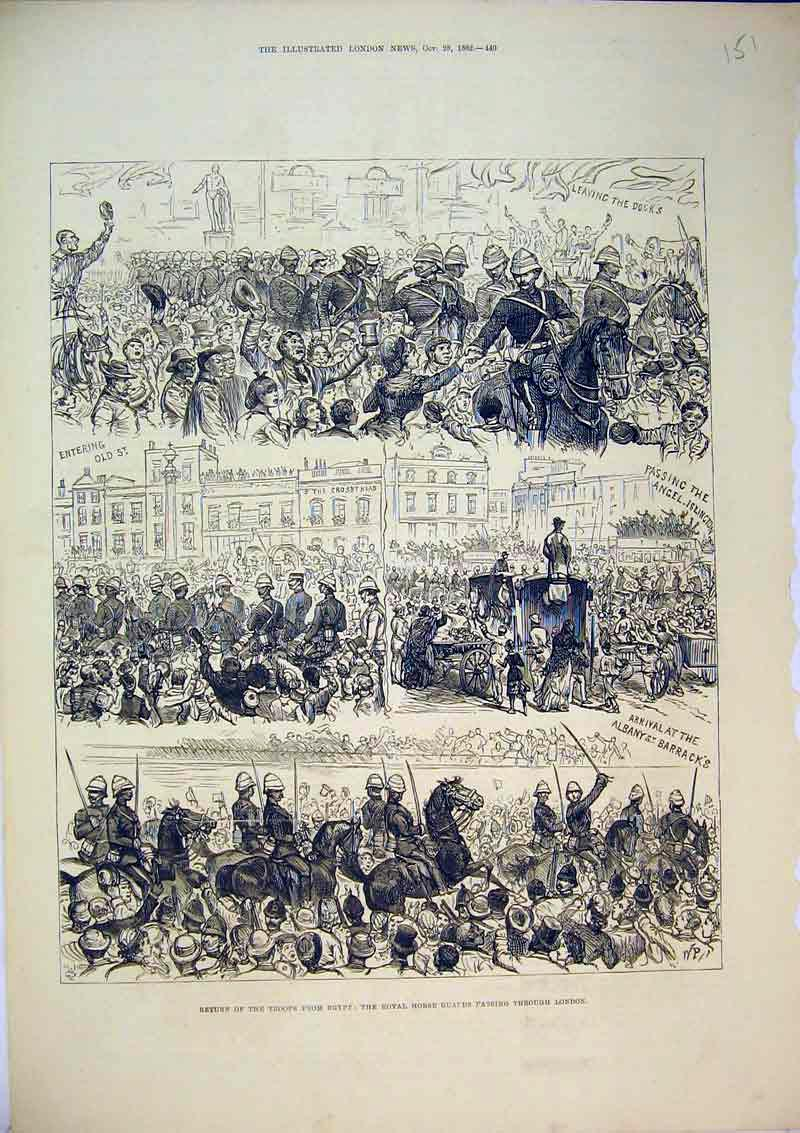 Print 1882 Troops Egypt Royal Horse Guards London Soldiers 151B367 Old Original