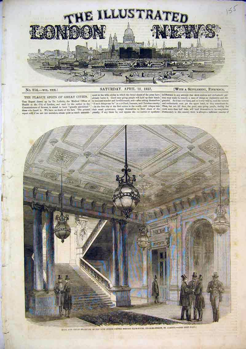 Print 1857 Hall Staircase Junior United Club House St James 155B367 Old Original