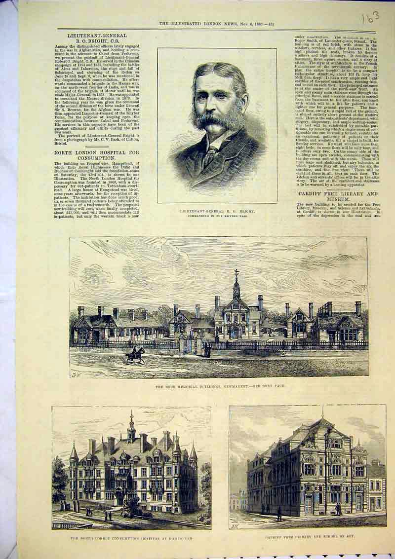 Print 1880 Rous Memorial Newmarket Cardiff Library Hospital 163B367 Old Original