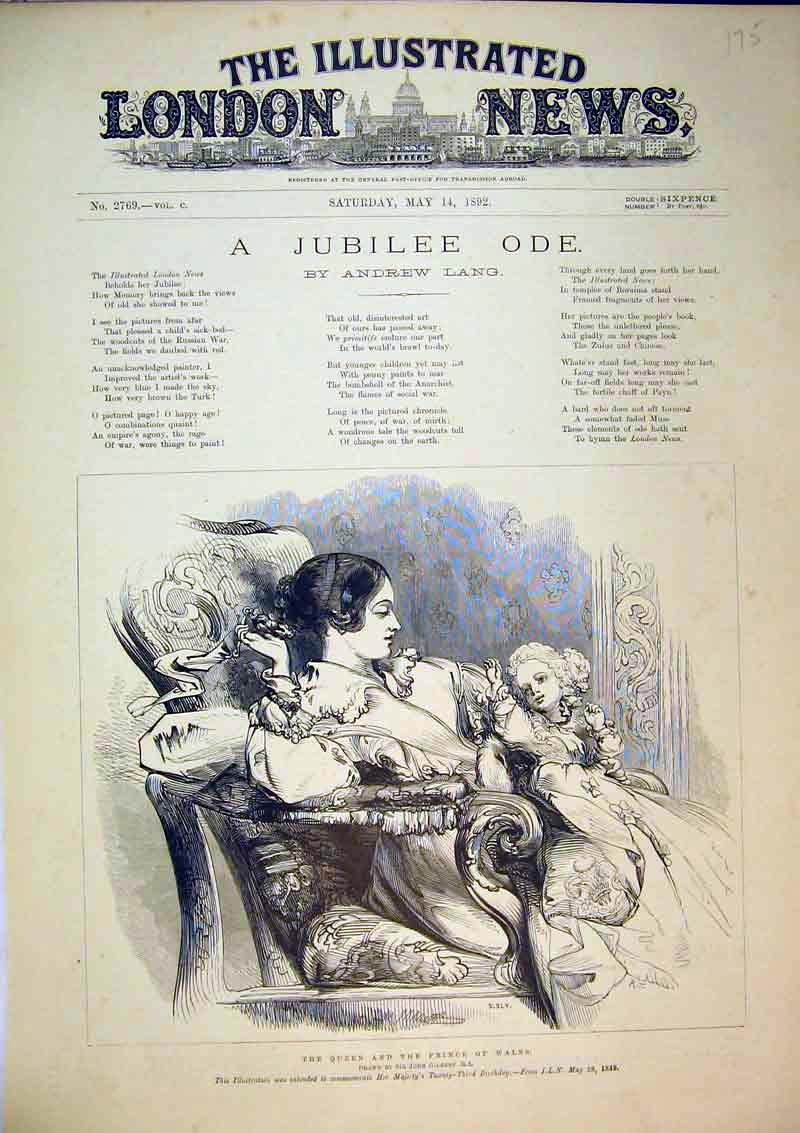 Print 1892 Portrait Queen Prince Wales Sititing Chair Baby 175B367 Old Original
