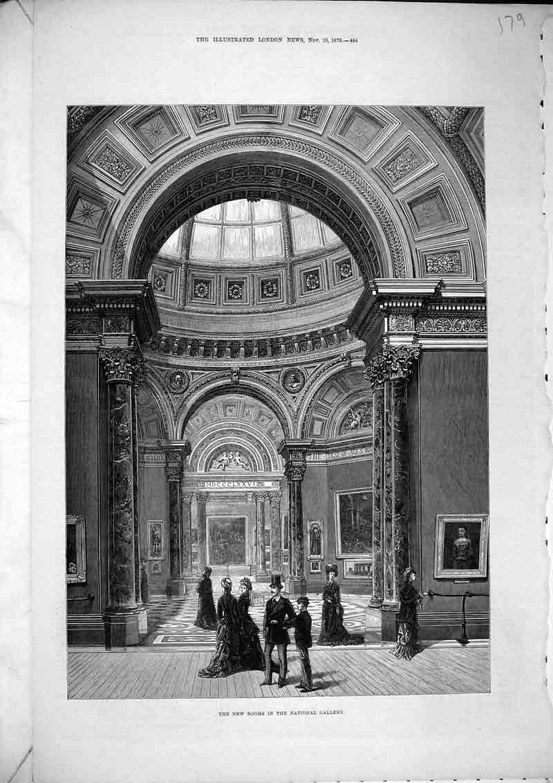 Print 1876Interior New Rooms National Gallery Art Paintings 179B367 Old Original
