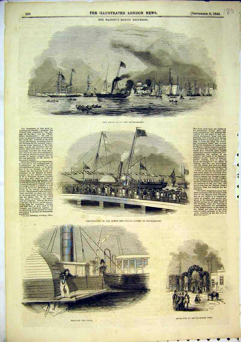Print 1843 Royal Yacht Queen Prince Albert Southampton War 180B367 Old Original