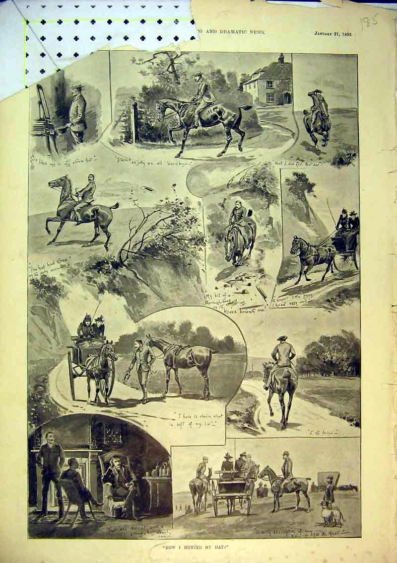 [Print 1893 Horses Hunting Country Coach Greyhounds Dogs 185B367 Old Original]