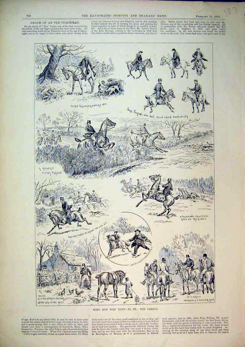 Print 1893 Hunting Men Horses Hounds Dogs Sport Jumping Fence 187B367 Old Original