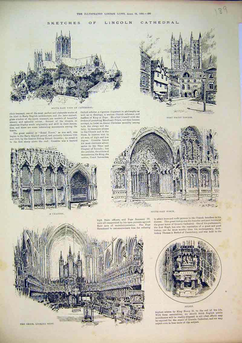 Print 1892 Lincoln Cathedral Tower Choir Pulpit Chantry Porch 189B367 Old Original