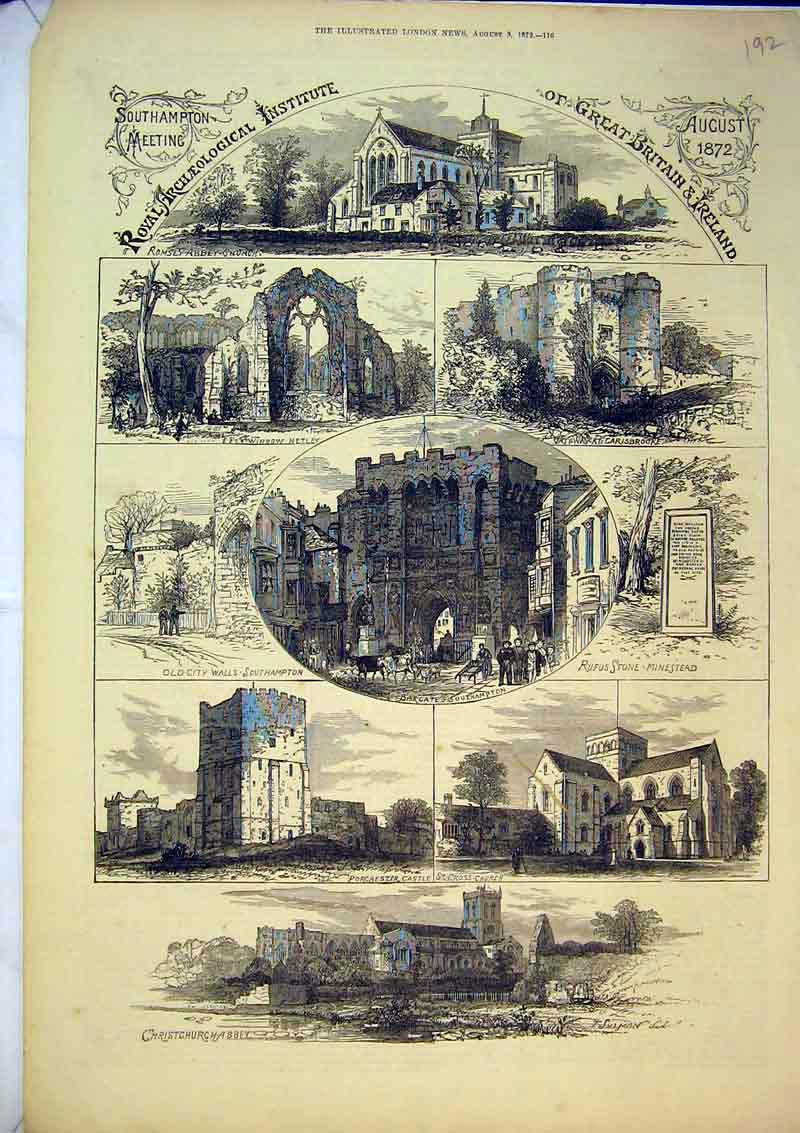 Print 1872 Christchurch Abbey Porchester Castle Bargate 192B367 Old Original