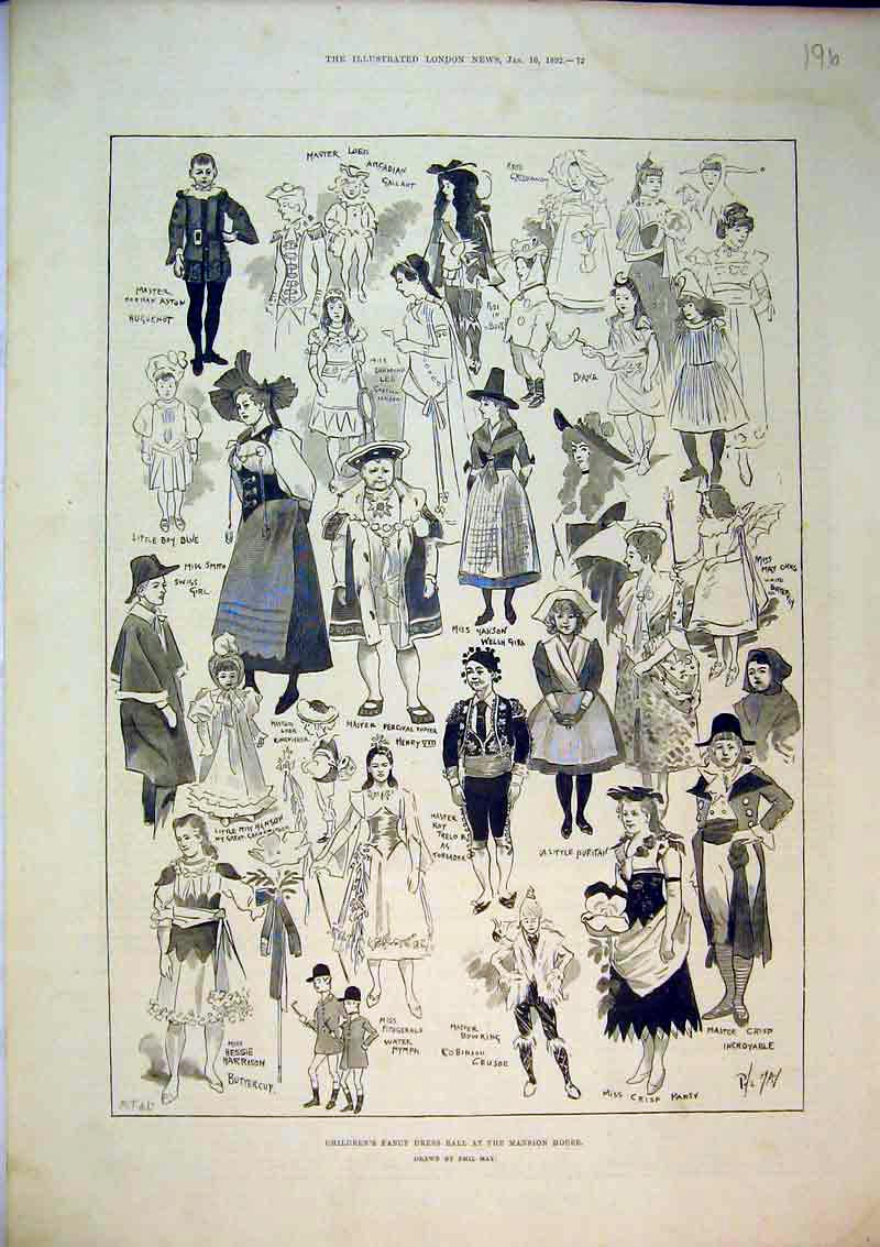 Print 1892 Children'S Fancy Dress Ball Mansion House Party 196B367 Old Original