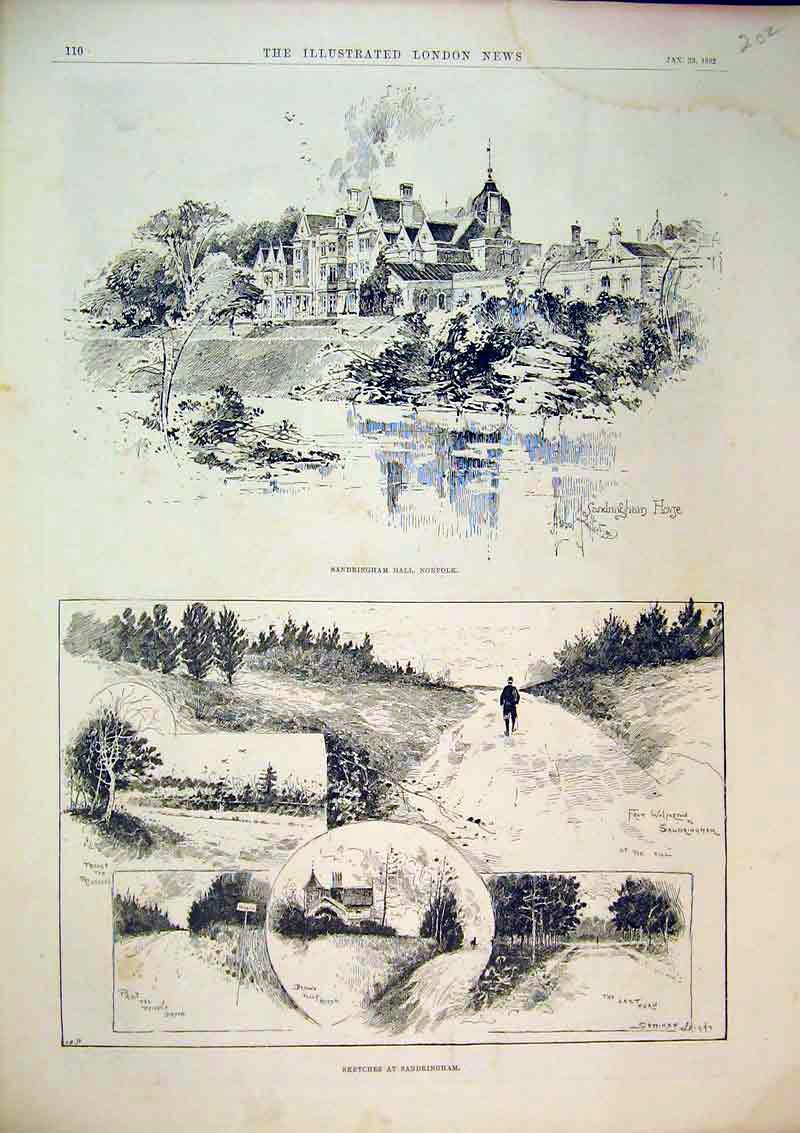 Print 1892 Sandringham Hall Norfolk Country House Trees 202B367 Old Original