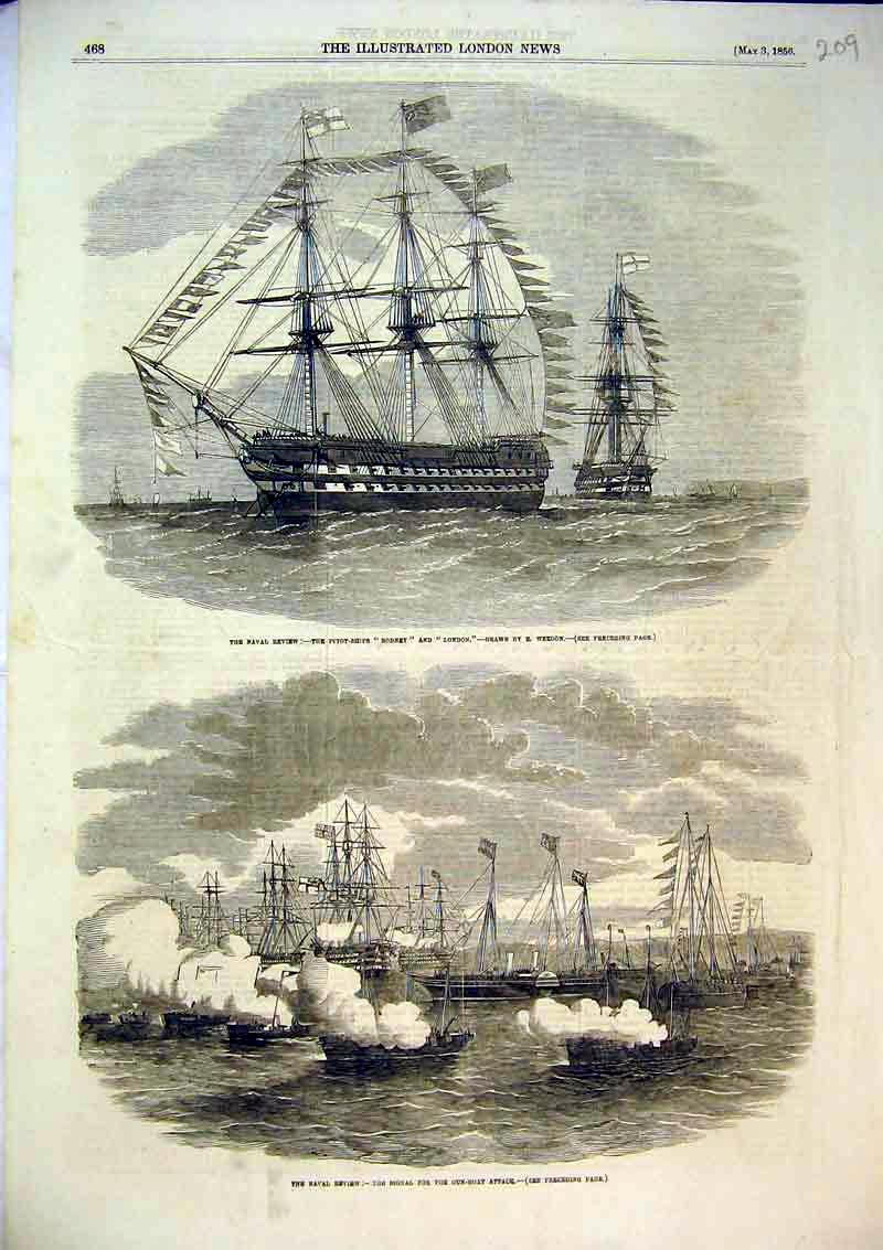 Print 1856 Naval Review Gun Boat Attack Ship Rodney London 209B367 Old Original