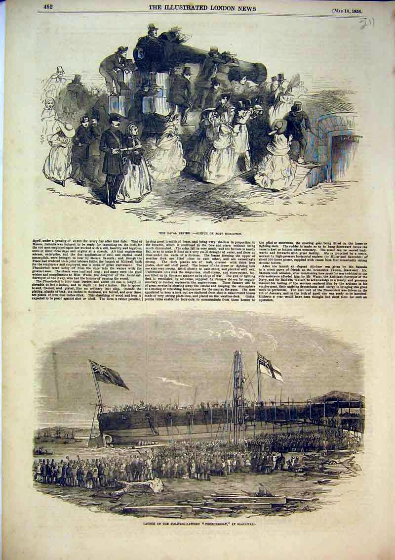 Print 1856 Floating Battery Thunderbolt Ship Blackwall Naval 211B367 Old Original