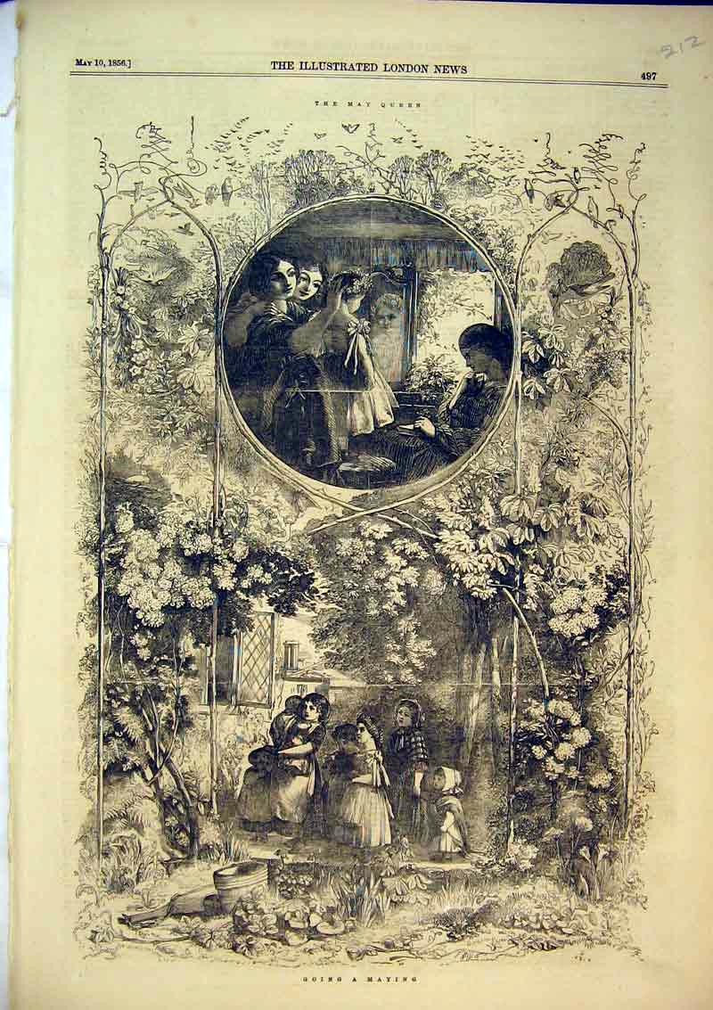 Print 1856 Country Garden Family Children May Queen 212B367 Old Original