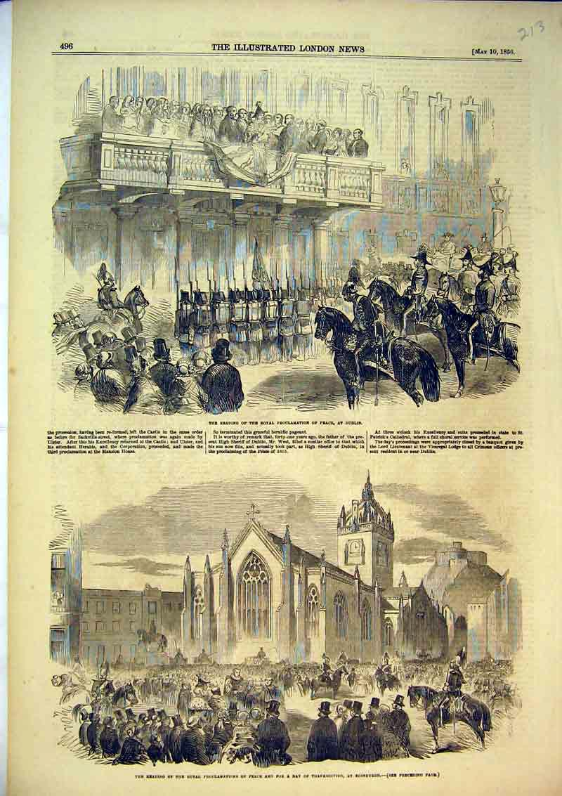 Print 1856 Proclamation Peace Dublin Edinburgh Horses War 213B367 Old Original