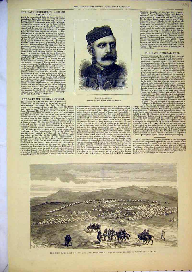 Print 1879 Zulu War Camp Eland Neck Transvaal Major Dartnell 219B367 Old Original