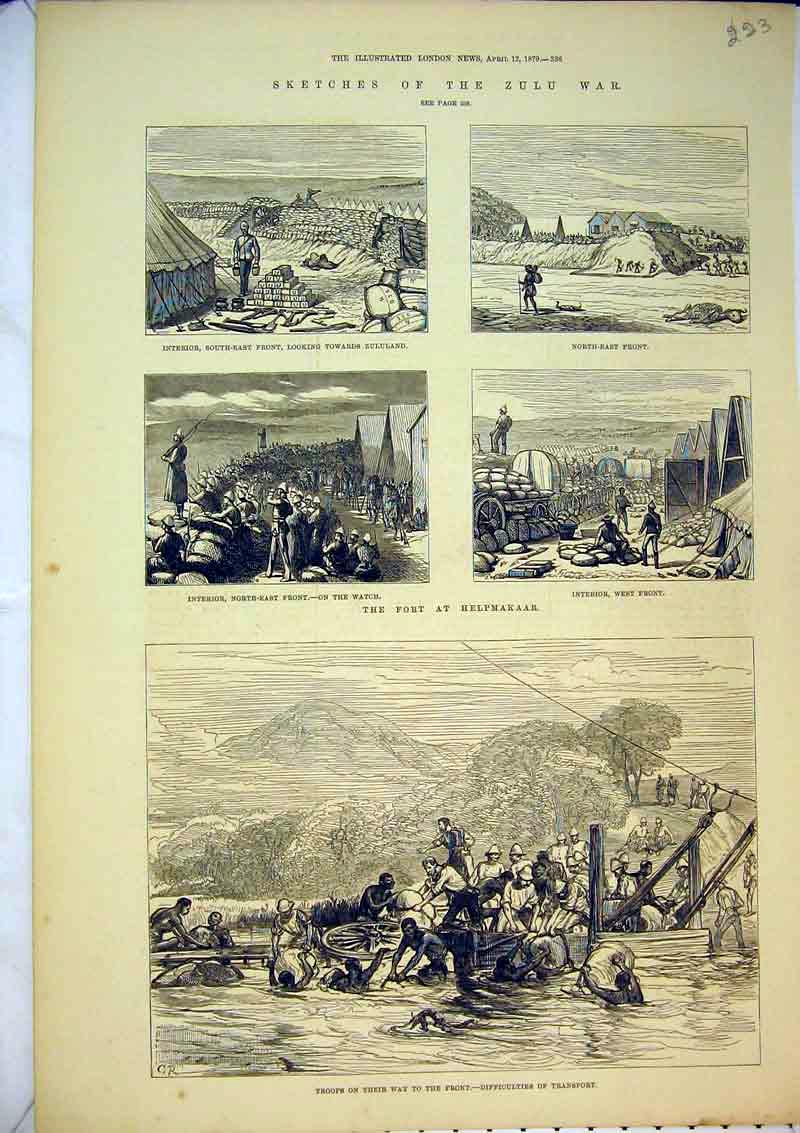Print 1879 Zulu War Fort Helpmakaar Camp River Transport 223B367 Old Original