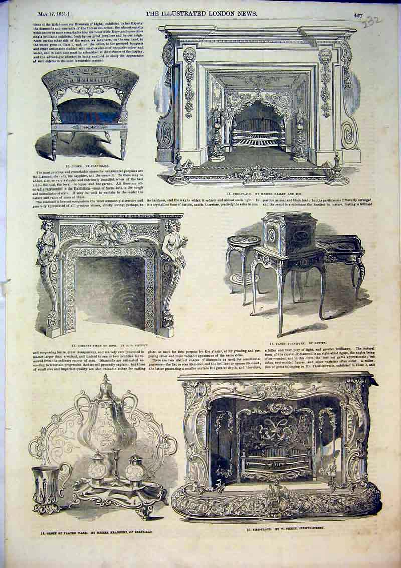 Print 1851 Fire Place Fancy Furniture Chair Chimney Plated 232B367 Old Original