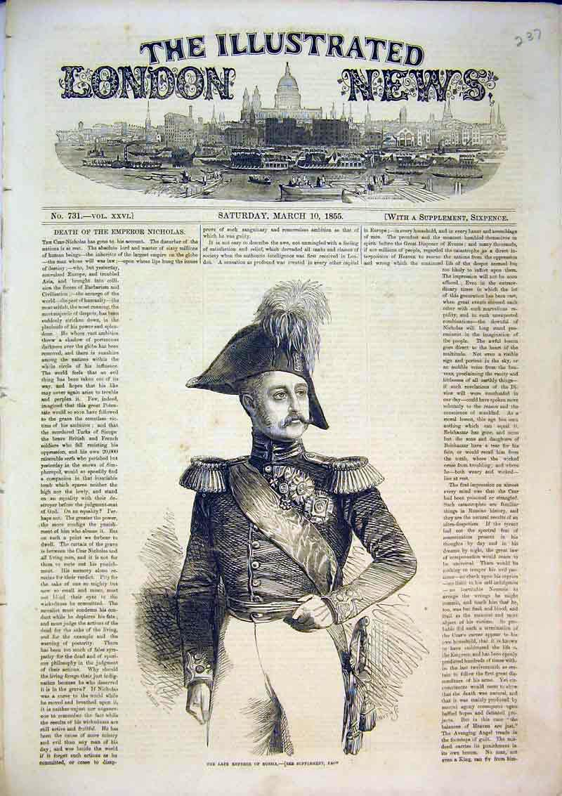 Print 1855 Portrait Late Emperor Russia War Soldier Man 237B367 Old Original
