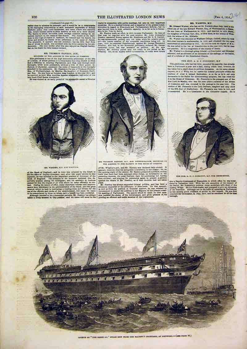 Print 1854 Steam Ship Hannibal Deptford Warner Hackney Men 241B367 Old Original