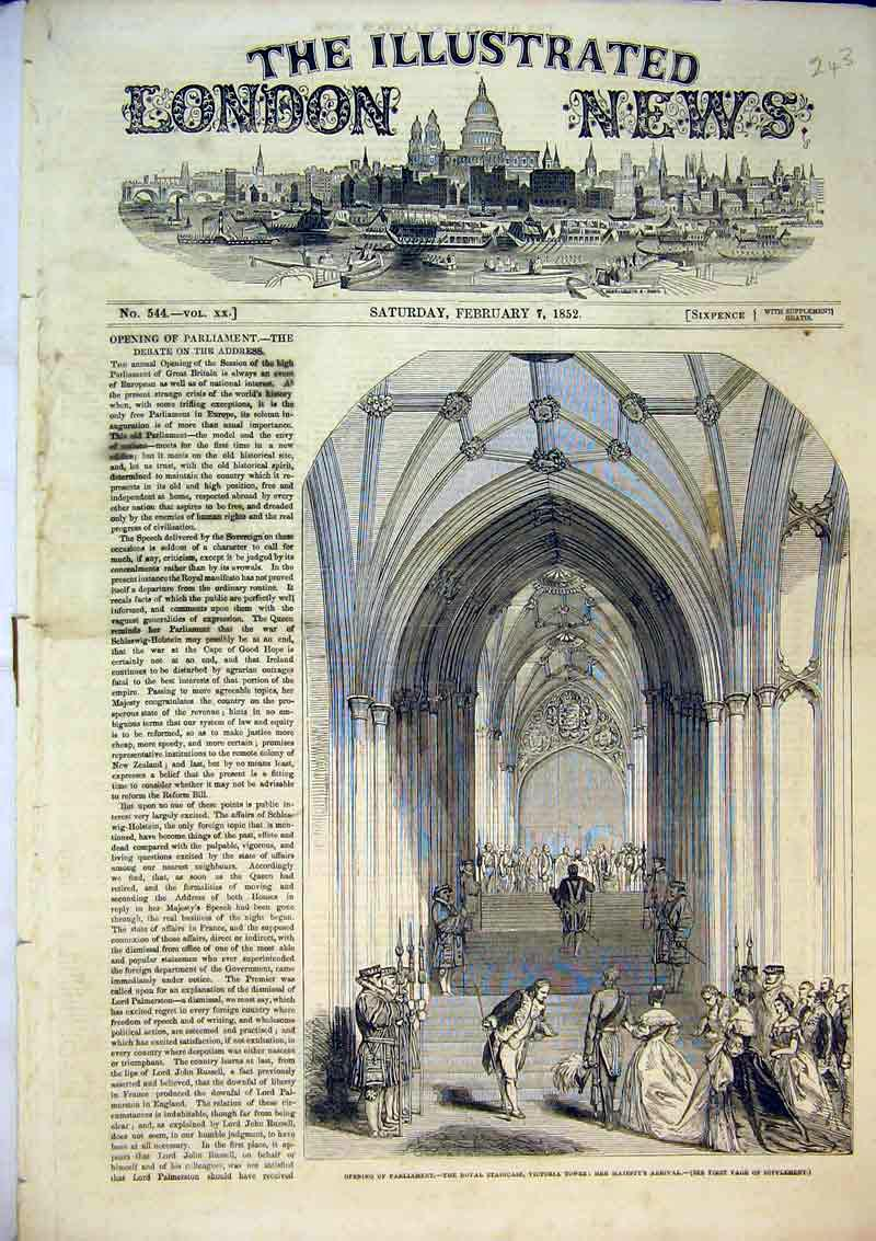 Print 1852 Parliament Royal Staircase Victoria Tower Queen 243B367 Old Original
