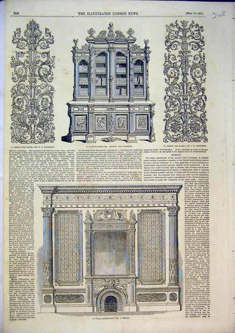 [Print 1851 Wall Decorations Carved Bookcase Design Pattern 248B367 Old Original]