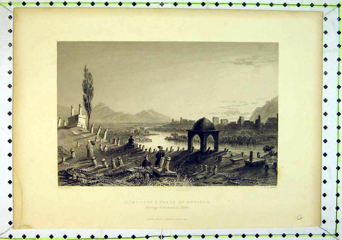 Print View Cemetery Walls Antioch Gravestones Mountains 206B368 Old Original